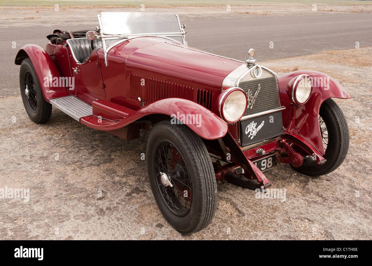 Vintage italiano rosso Alfa Romeo 6C 1750 SS Gran Turismo auto sportiva Immagini Stock