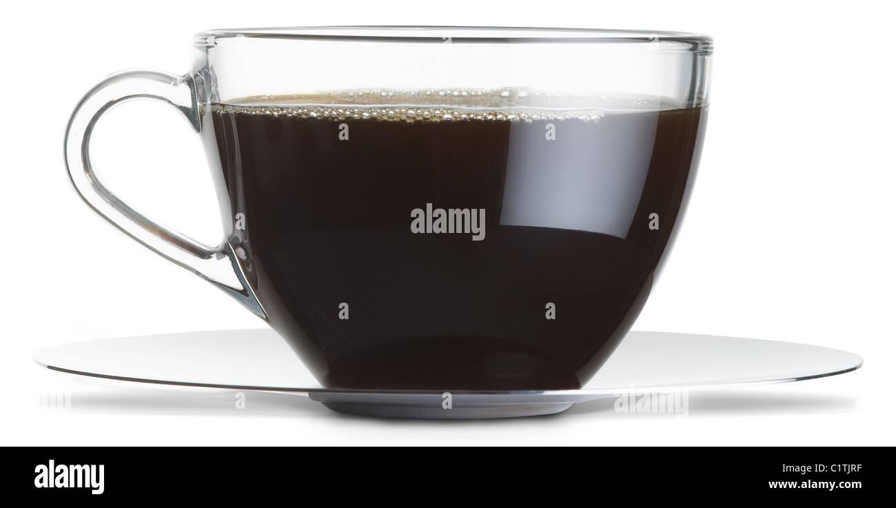 Un bicchiere di tazza di caffè nero isolato su uno sfondo bianco con tracciato di ritaglio Immagini Stock