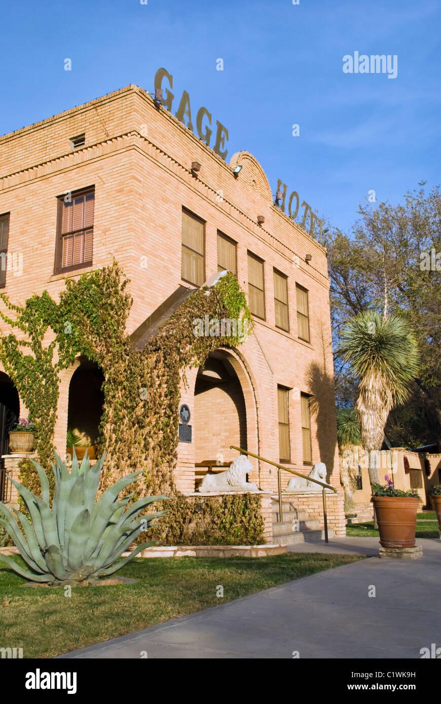 La storica Gage Hotel, una volta la residenza privata di cattleman e banchiere Alfred Gage, ora ospita i visitatori Immagini Stock