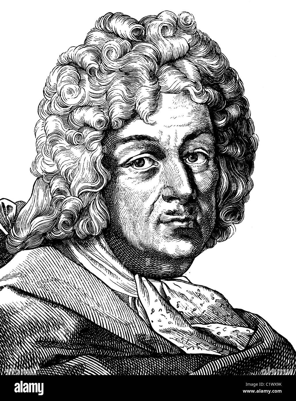 Digitale immagine migliorata di Hiob Ludolf, fondatore di studi etiope, 1624 - 1704, storico illustrazione, ritratto, Immagini Stock