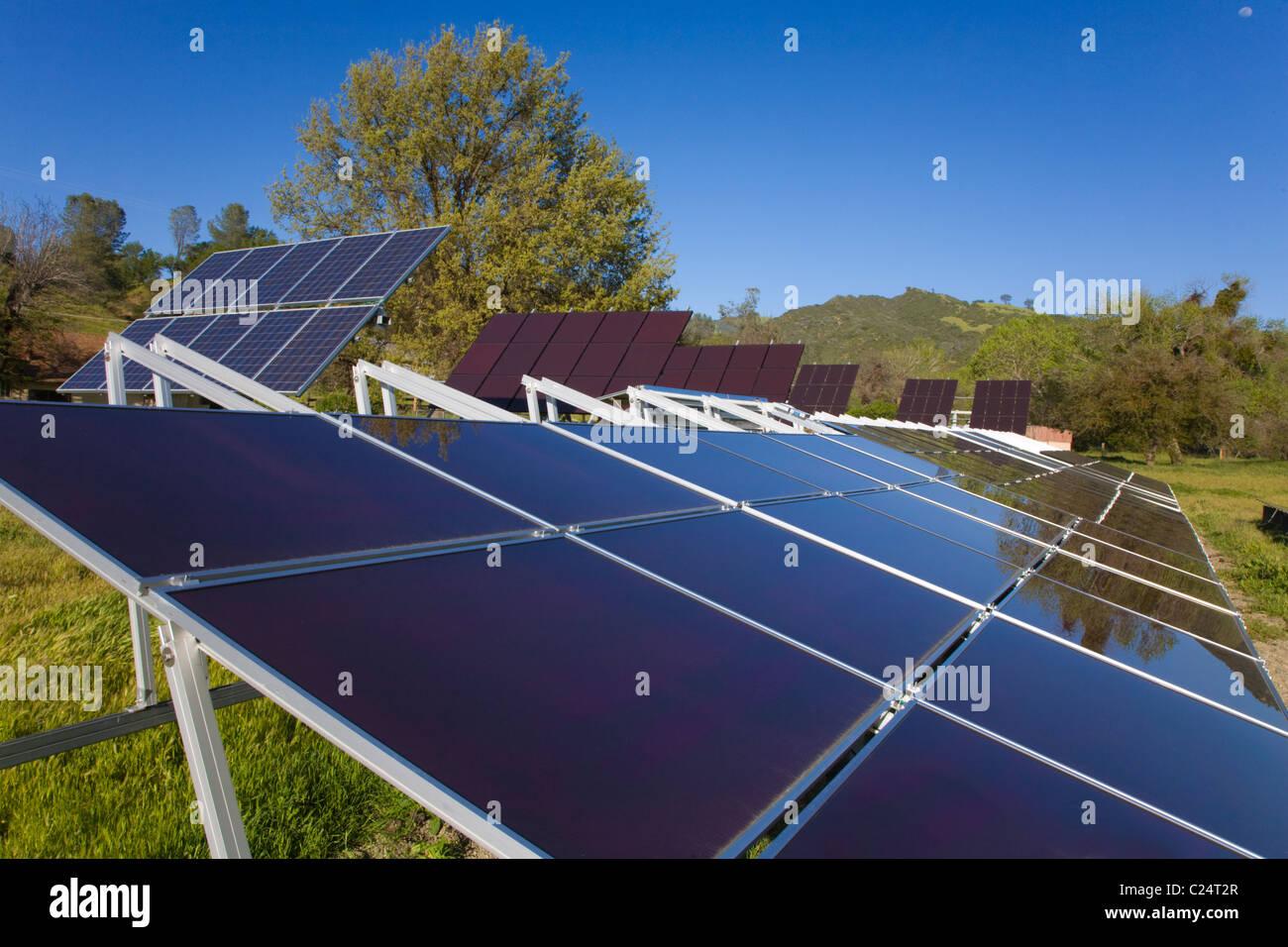Pannello solare a schiera di un intervallo di costiera ranch di bestiame in California centrale Immagini Stock