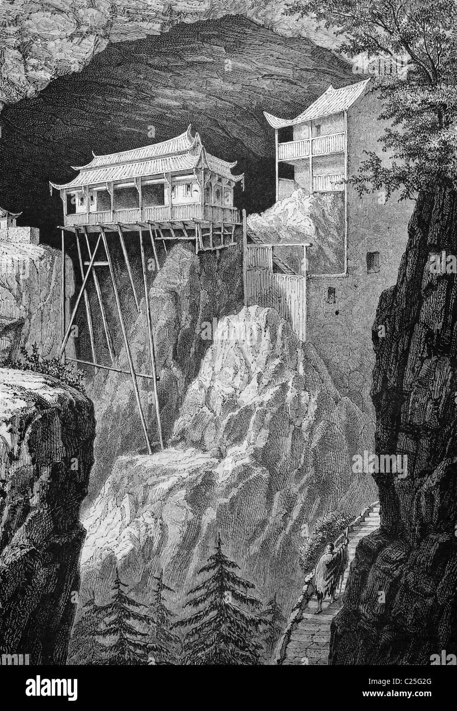 Feng Twan Huang tempio, Cina, storico illustrazione, 1877 Immagini Stock