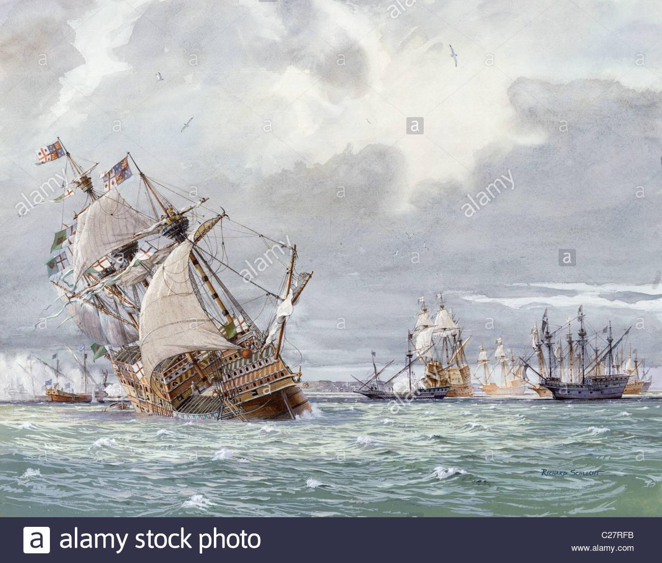 Pittura di olio del naufragio della H.M.S. Mary Rose. Immagini Stock