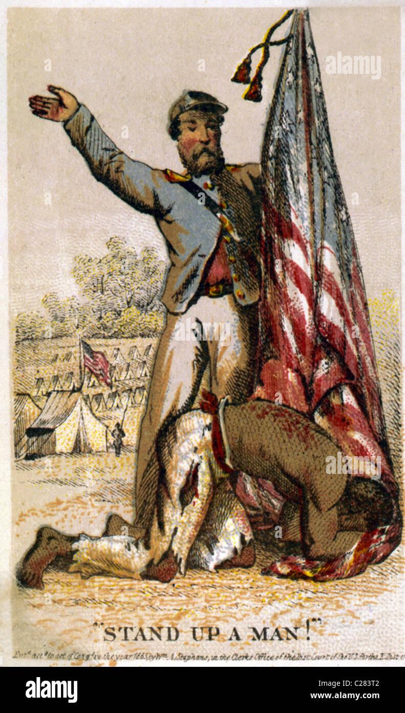 Stand up un uomo! Liberati schiavi afro-americana umiliato prima bandiera americana detenute dall Unione soldato. Immagini Stock