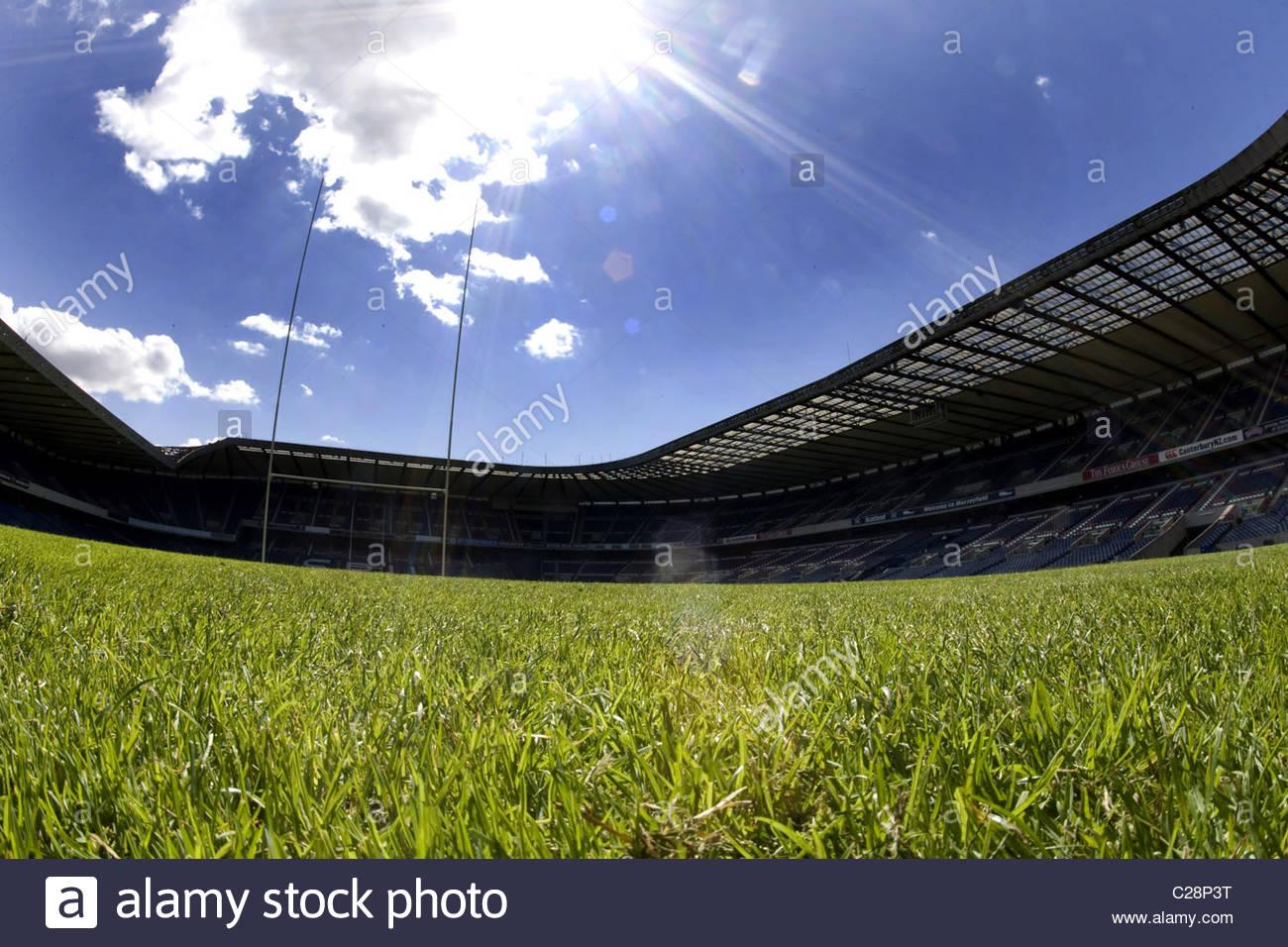 08/08/07 MURRAYFIELD - EDINBURGH GV di Murrayfield Stadium, casa della Scozia nazionale di rugby. Immagini Stock