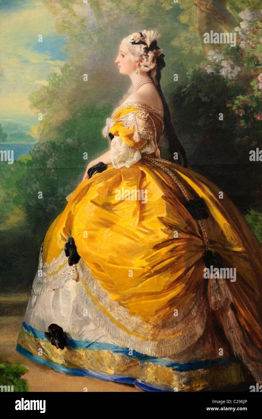 Dettaglio: l'Imperatrice Eugénie, (Eugénie de Montijo, 1826-1920, Condesa de Teba), 1854, di Franz Immagini Stock