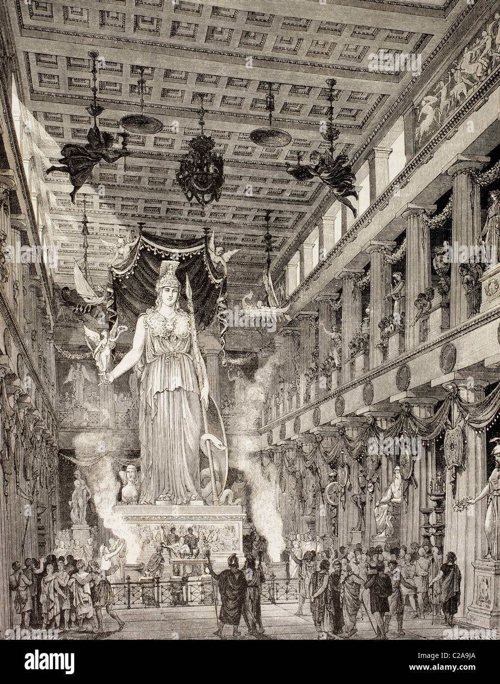 Artista della impressione del Partenone di Atene, Grecia, durante il periodo classico. La statua della dea Atena, Immagini Stock