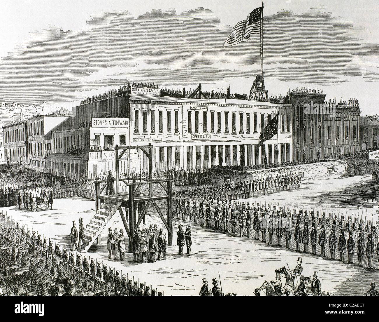 Esecuzione pubblica di assassini Giuseppe Hetherington e Philander tutore, 29 luglio 1856, sul patibolo. Immagini Stock