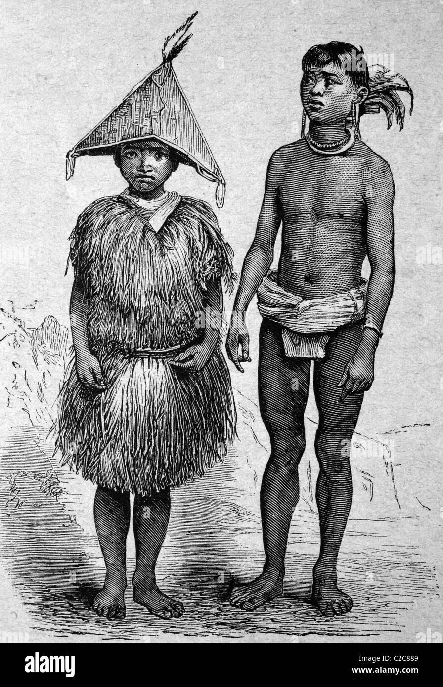 Nativi delle isole Pagi, Est Indiano Arcipelago, illustrazione storico, circa 1886 Immagini Stock