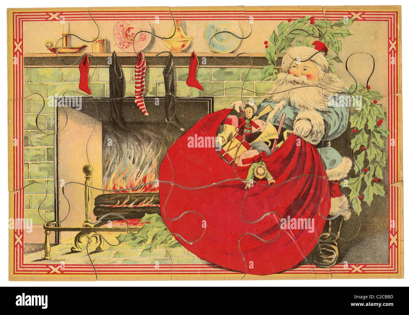 Circa 1890 Santa Claus puzzle da Milton Bradley. Immagini Stock