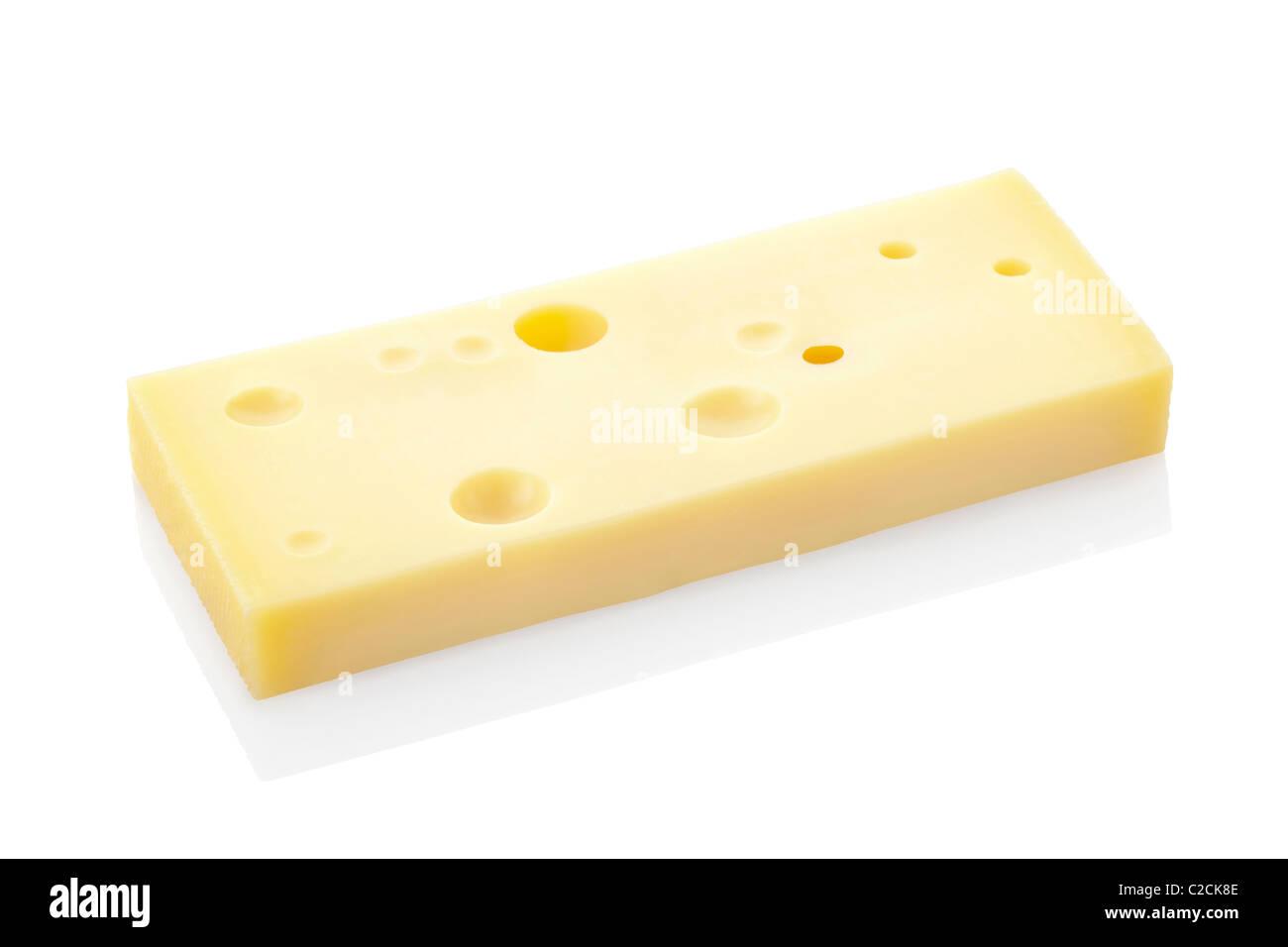 Il formaggio svizzero fetta isolato su bianco Immagini Stock
