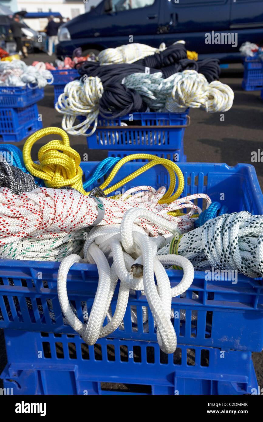 Casse di funi misti per la vendita in barca accozzaglia vendita nel Regno Unito Immagini Stock