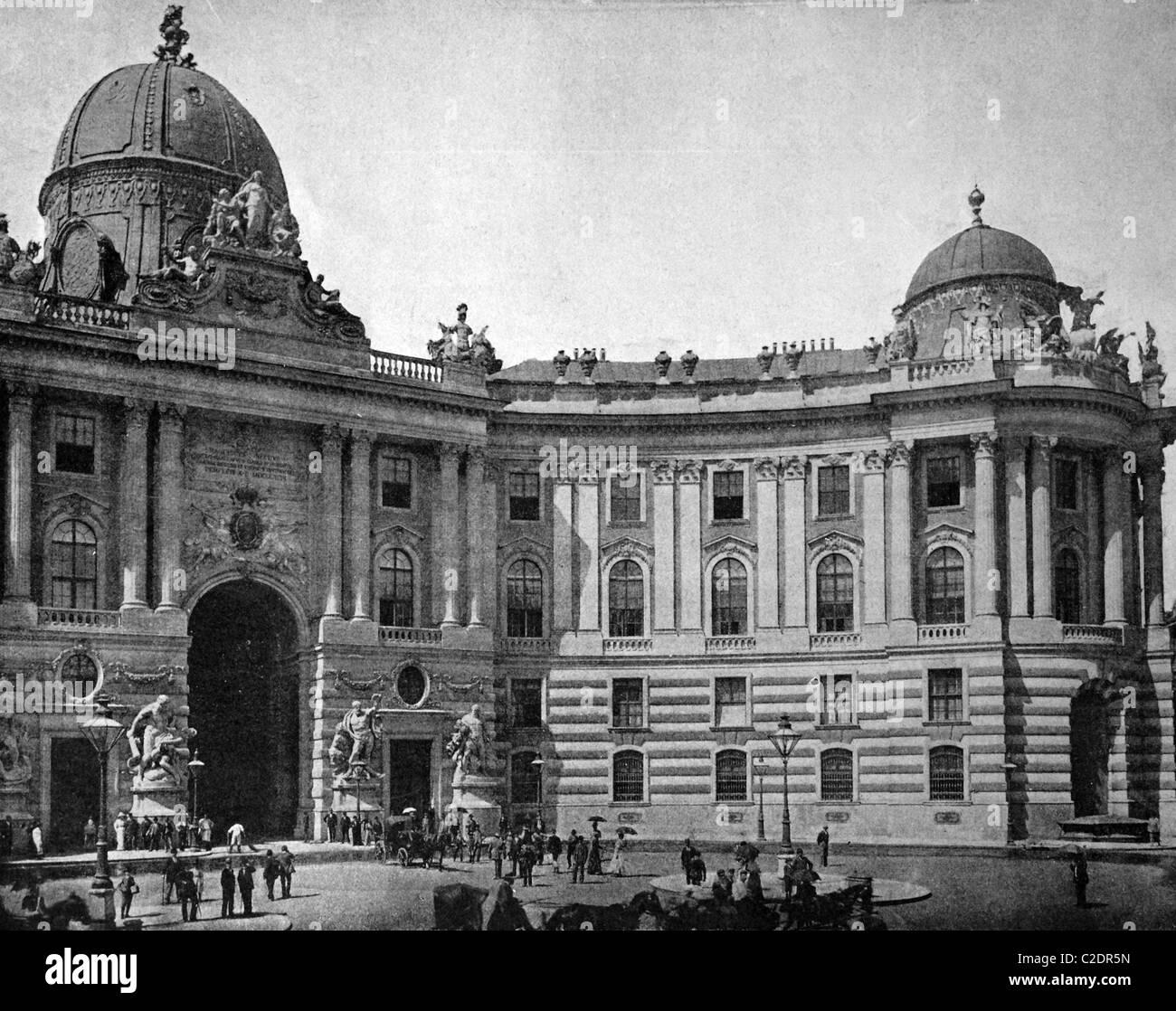 Una delle prime stampe di Autotype, Franz-Josef-Tor Gate, fotografia storica, 1884, Vienna, Austria, Europa Immagini Stock