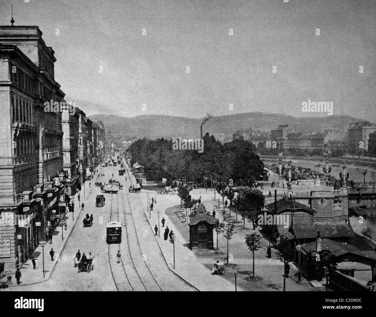 Una delle prime stampe di Autotype, Franz-Josefs-Kai wharf, fotografia storica, 1884, Vienna, Austria, Europa Immagini Stock