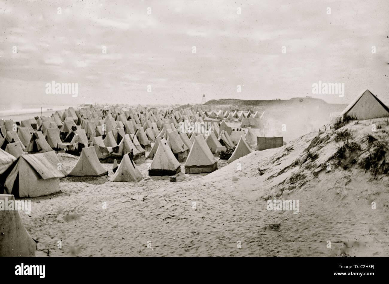 Camp federale sulla spiaggia Immagini Stock