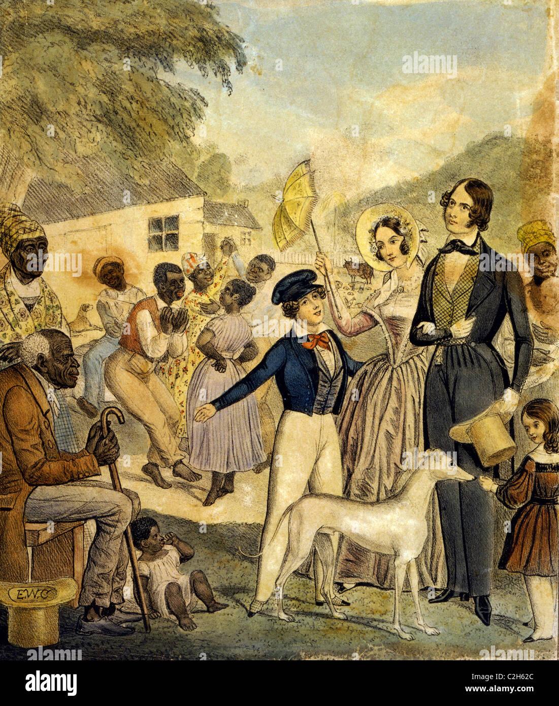 Un ritratto idealizzato di American la schiavitù e le condizioni dei neri sotto questo sistema nel 1841. Immagini Stock