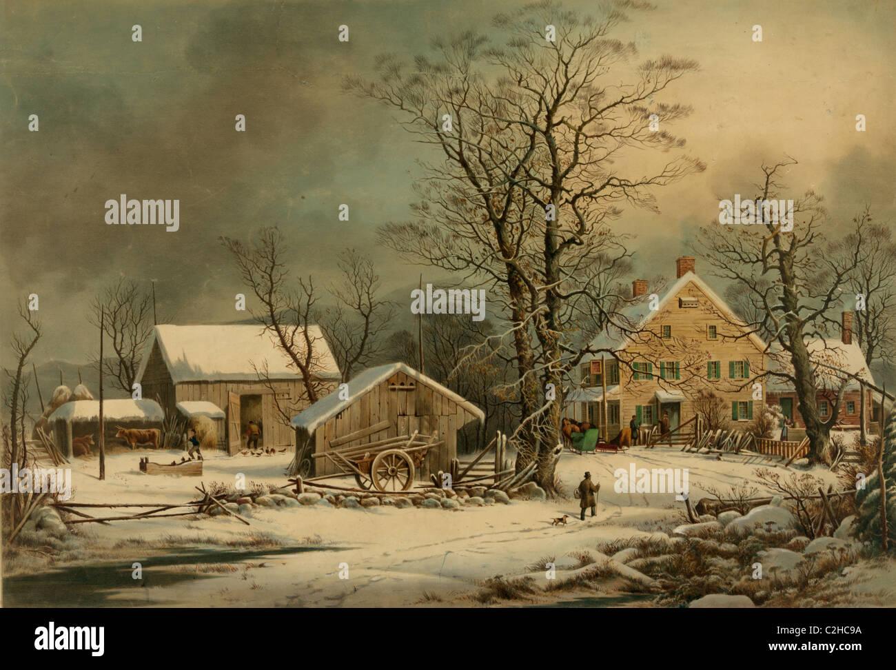 In inverno il paese; una fredda mattina Immagini Stock