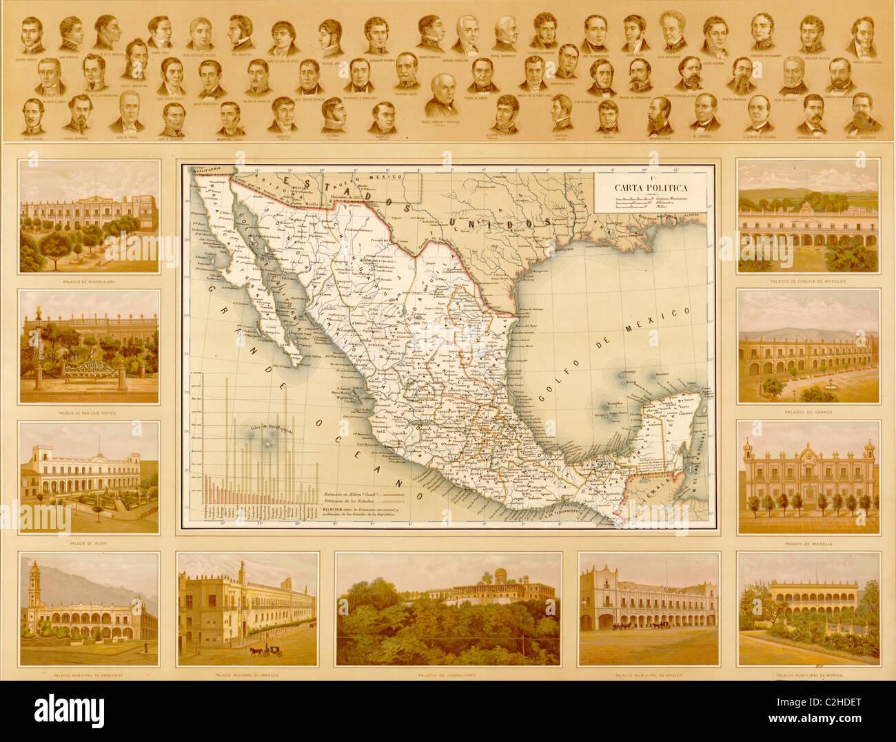 Cartina Politica Messico.Mappa Politica Del Messico Foto Stock Alamy