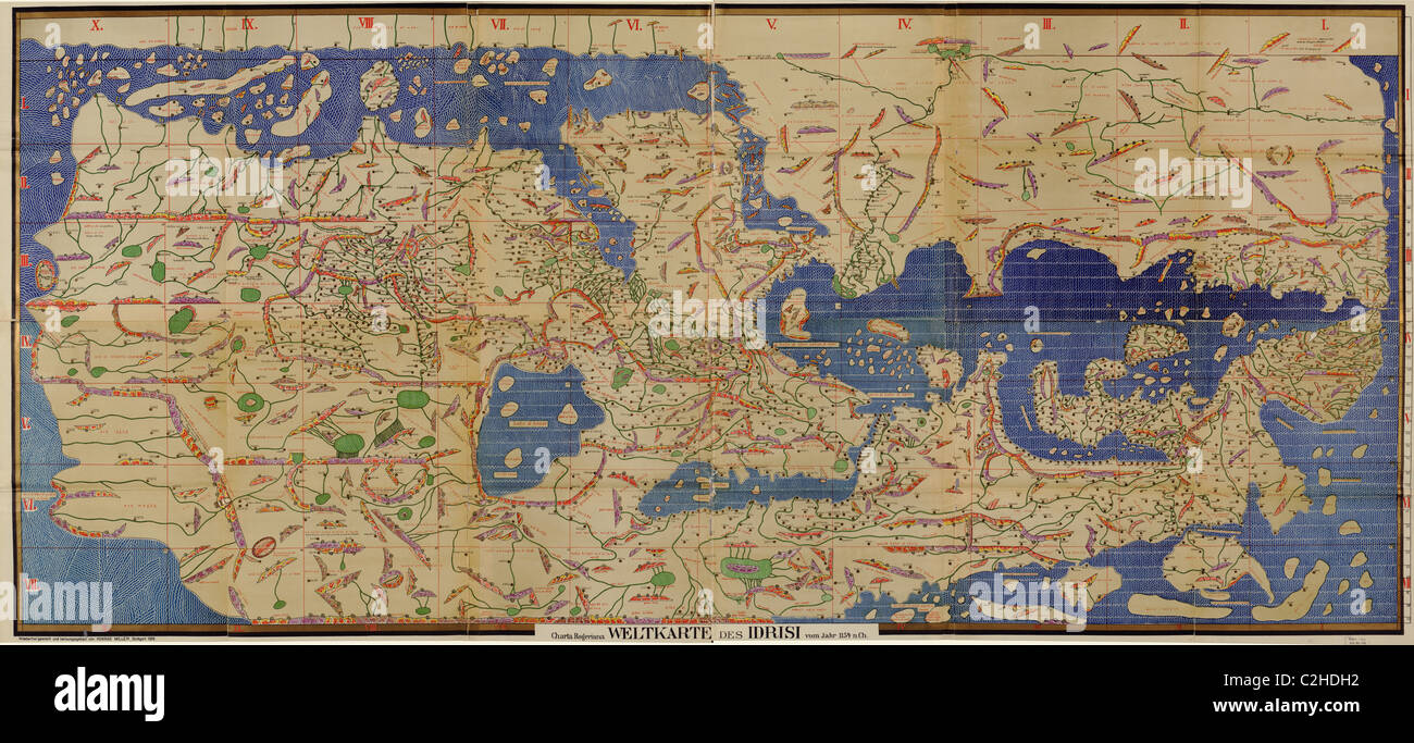 Mediterraneo Cartina.Mappa Arabo Del Mediterraneo Foto Stock Alamy