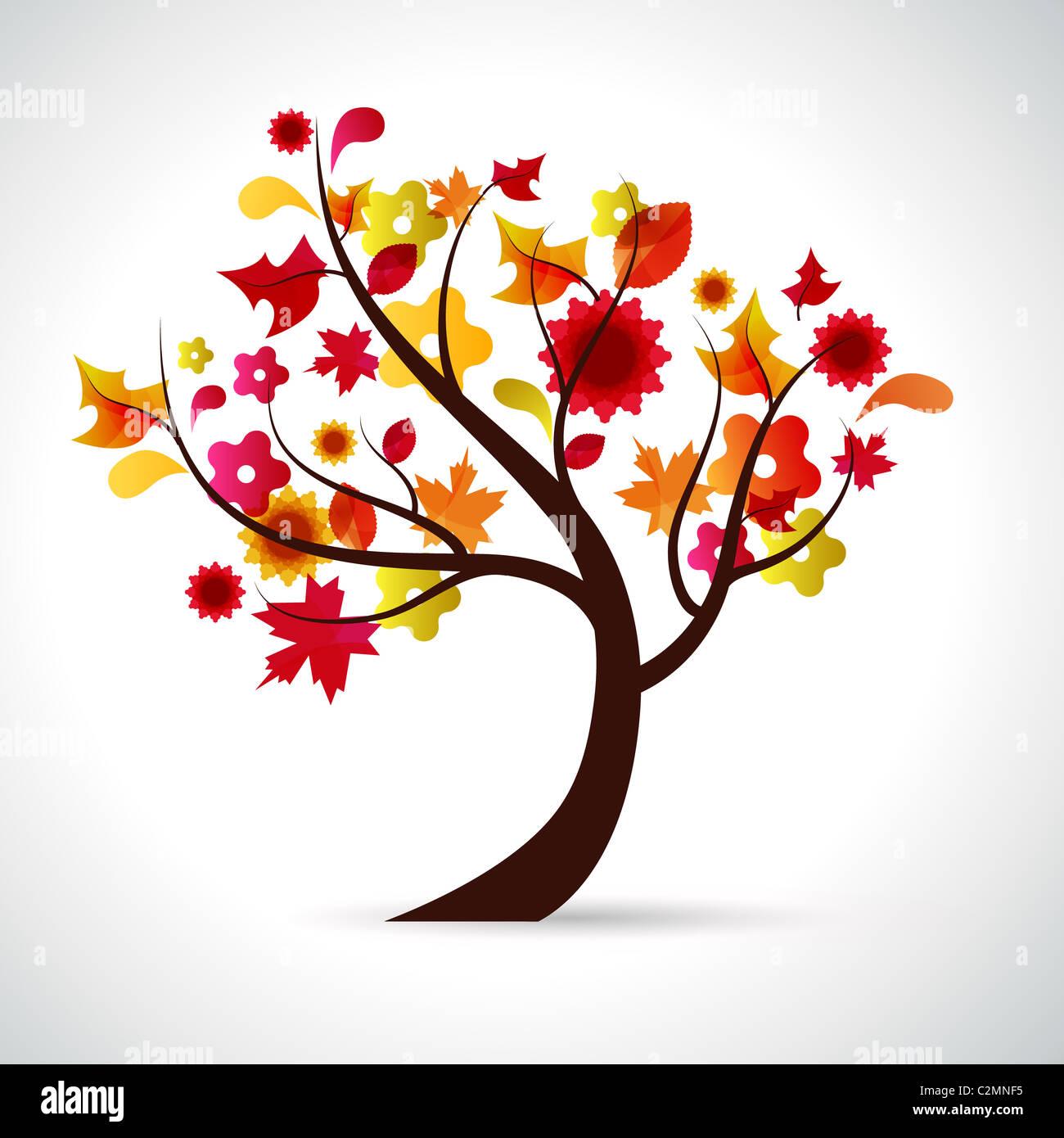 Illustrazione astratta di un albero da sfondo per la stagione di autunno Immagini Stock