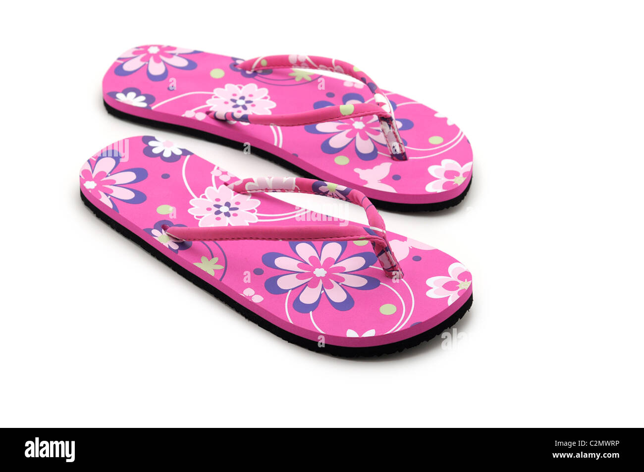 Sandali estivi, rosa flip flop, fiori, design floreale, Floral stampare Immagini Stock