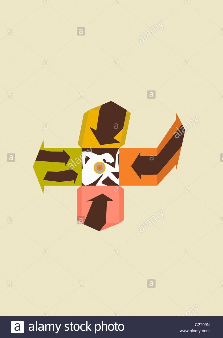 Persona accovacciato all'interno del modello di scatola Immagini Stock