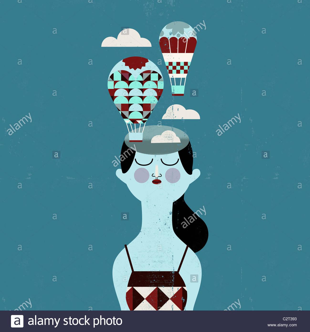 Donna con i palloni ad aria calda proveniente dalla sua testa Immagini Stock
