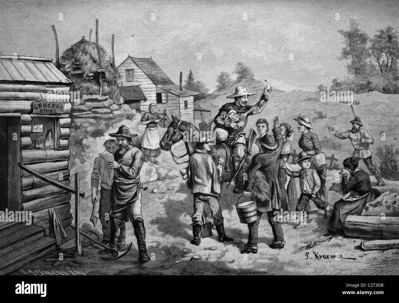 Il primo postino arrivano a un nuovo insediamento nel selvaggio West, America, storico, illustrazione, circa 1886 Immagini Stock