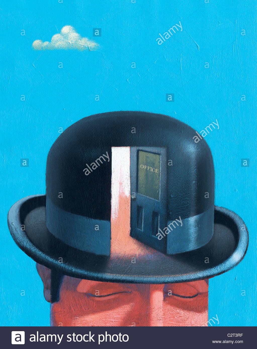 Imprenditore nel cappello bowler con lo sportello aperto Foto Stock