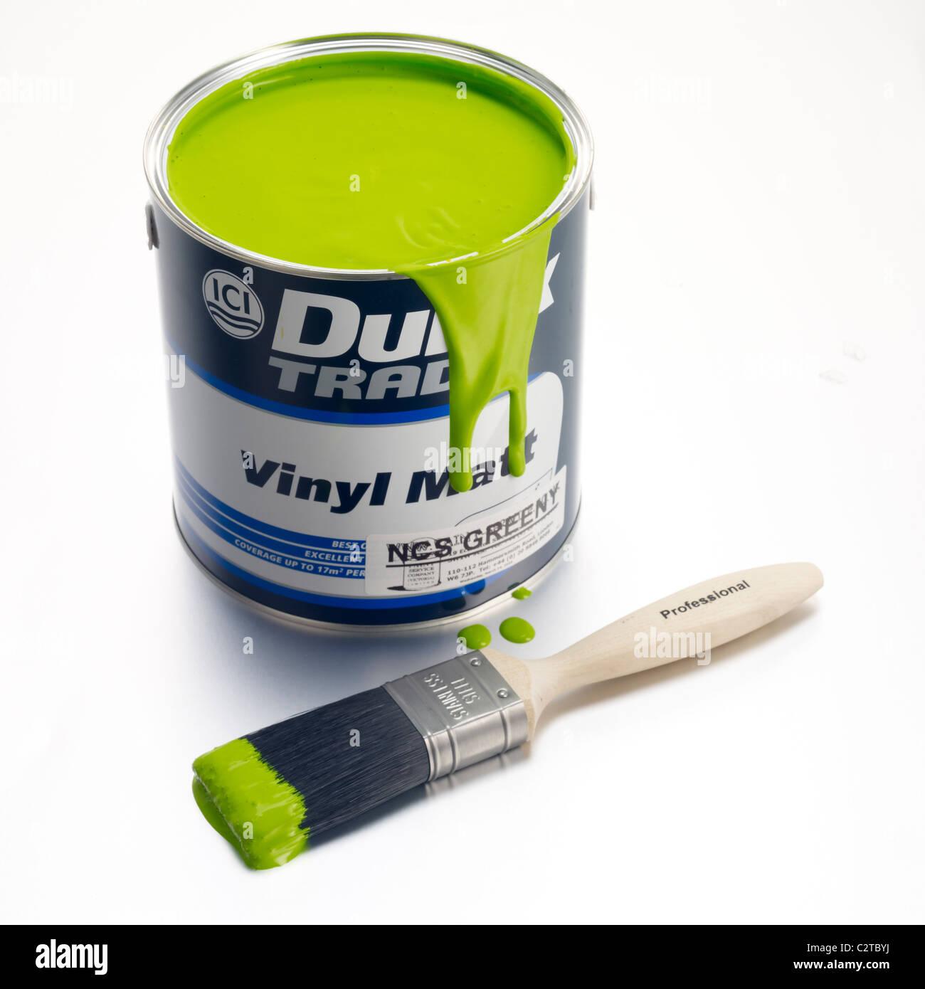 Latta di vernice e spazzola Immagini Stock