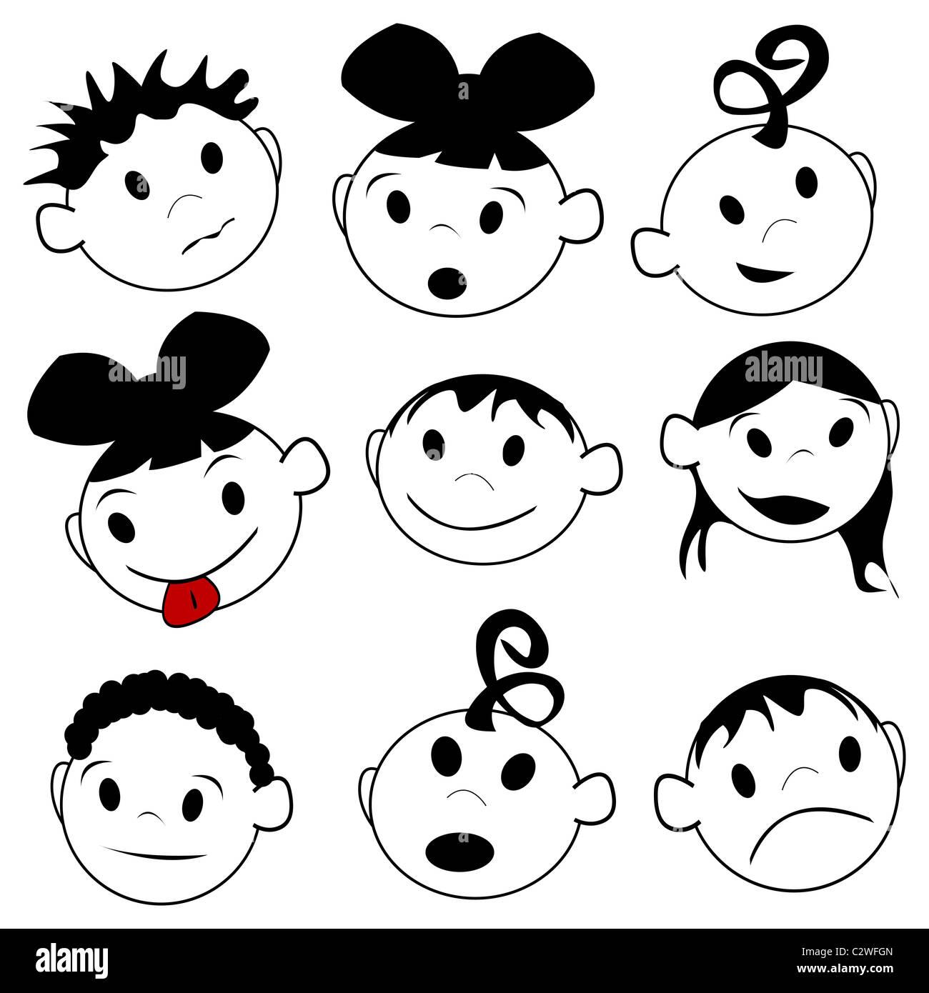 Le espressioni dei bambini Immagini Stock