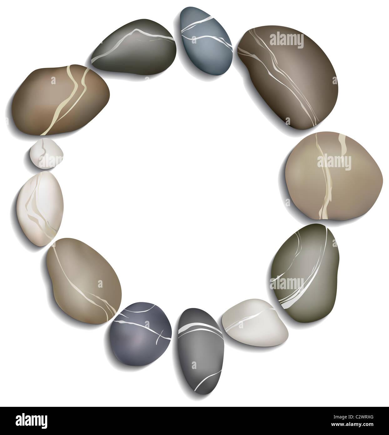 Cerchio di dodici ciottoli su sfondo bianco Foto Stock