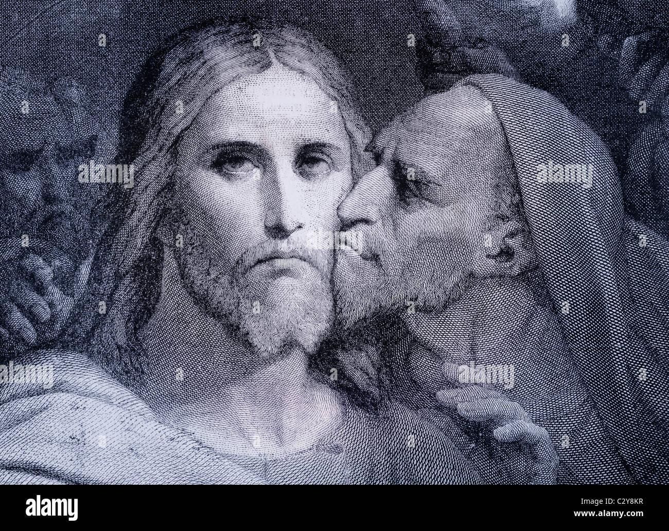 Il bacio. Giuda Iscariota bacia Gesù Cristo nel Giardino del Getsemani. Immagini Stock