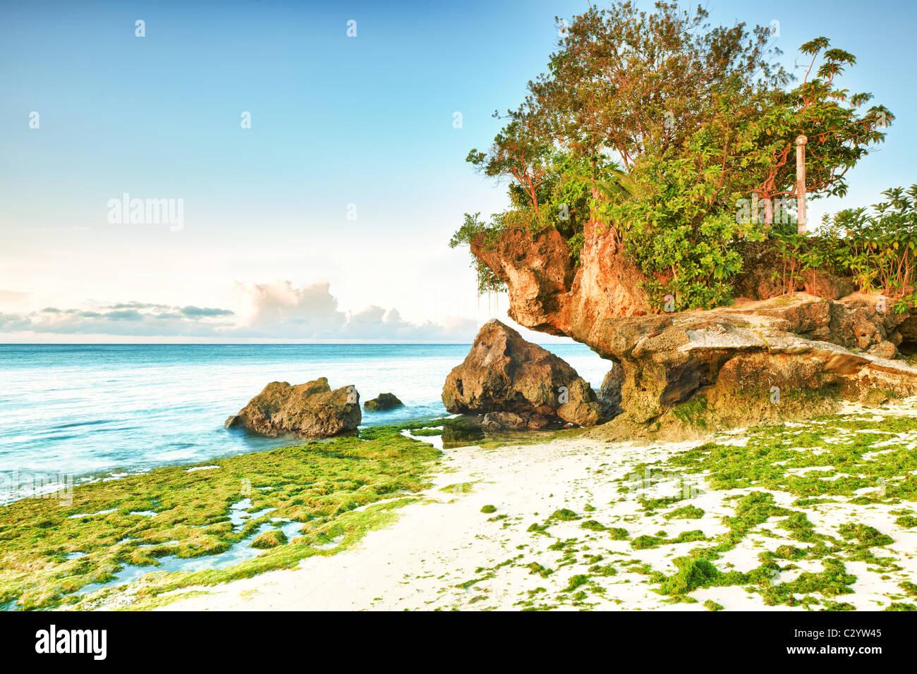 Bellissimo paesaggio marino. Pietra sul primo piano. Filippine Immagini Stock