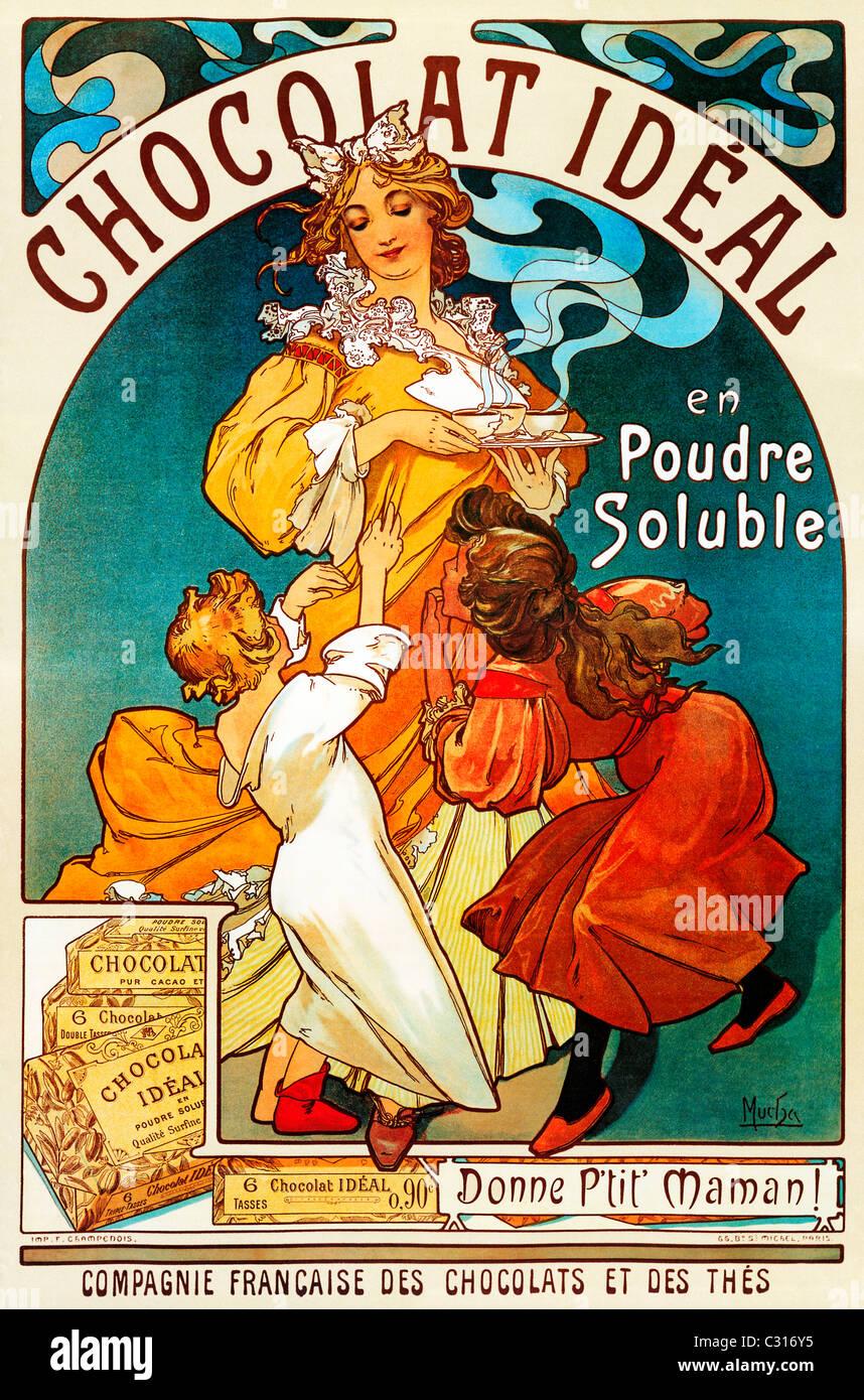 Mucha, Chocolat ideale, 1897 Art Nouveau poster da Alphonse Mucha per il francese calda bevanda al cioccolato Immagini Stock