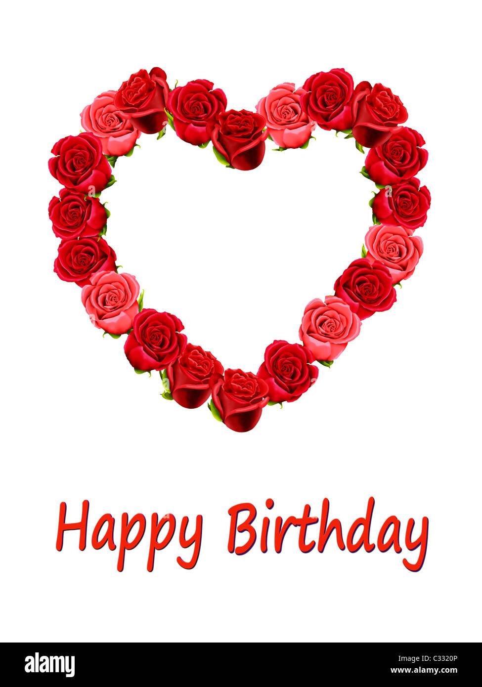Buon Compleanno Card Con Un Cuore Di Rose Foto Immagine Stock
