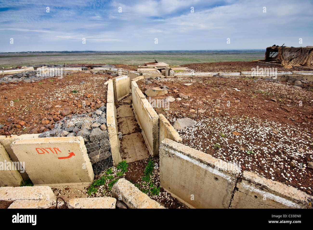 Alture del Golan, Israele. Un bunker e trincee che si affaccia sul confine Israeli-Syrian a 'Tel Saki' ('l'Saki Immagini Stock