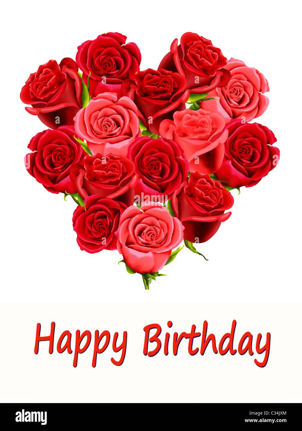 Favoloso Biglietto di auguri di compleanno con un cuore fatto di rose Foto LI39