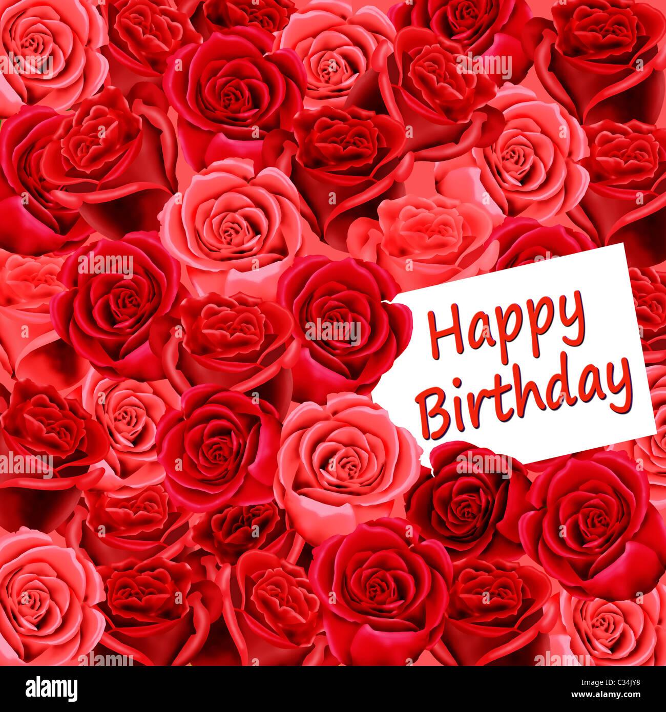 Super Biglietto di auguri di compleanno con rose e Buon compleanno Foto YJ85