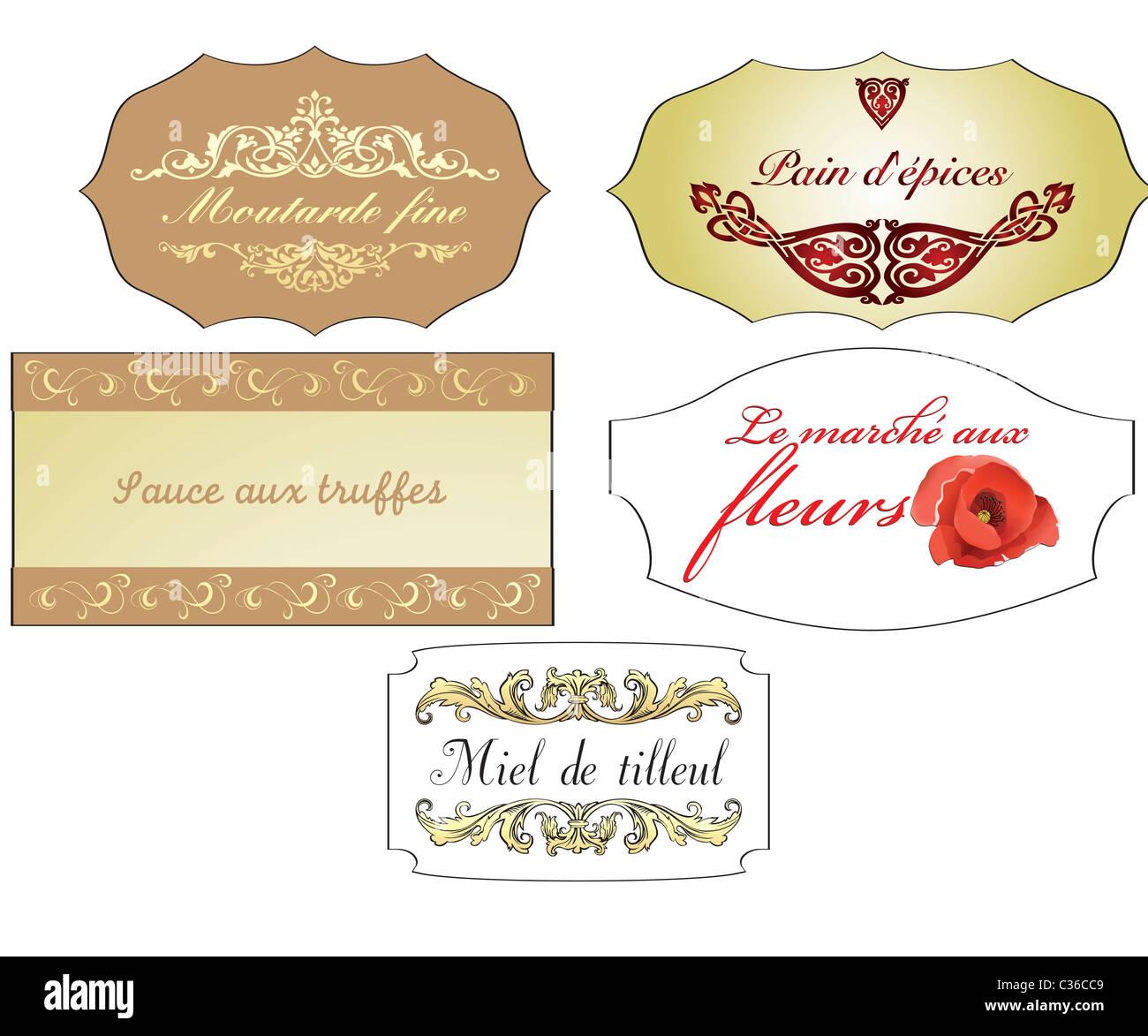 86b93c5ac6f7 Varie antico francese etichette vintage isolato su bianco Immagini Stock