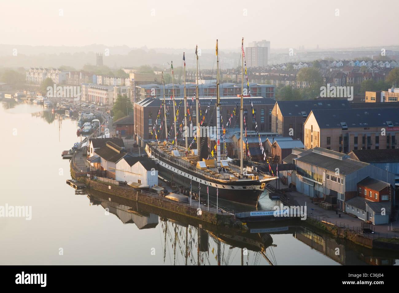 Bristol Floating Harbour e la SS Gran Bretagna. Bristol. In Inghilterra. Regno Unito. Foto Stock