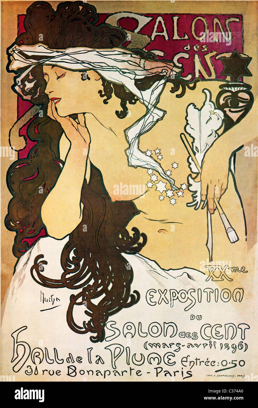 Mucha, Salon des Cent 1896 Art Nouveau poster da Alphonse Mucha per una mostra delle sue opere a Parigi Immagini Stock