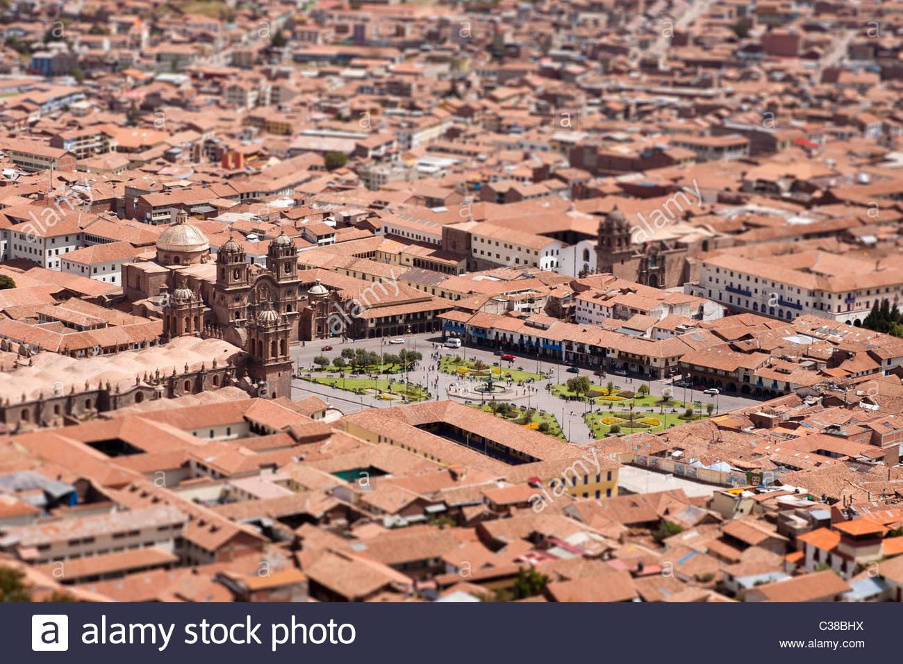 Tilt-Shift vista di Cusco antico centro della città e da Plaza de Armas, Cusco, Perù. Immagini Stock