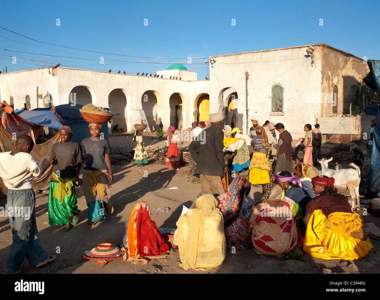 Luogo di mercato di Harar Etiopia Immagini Stock