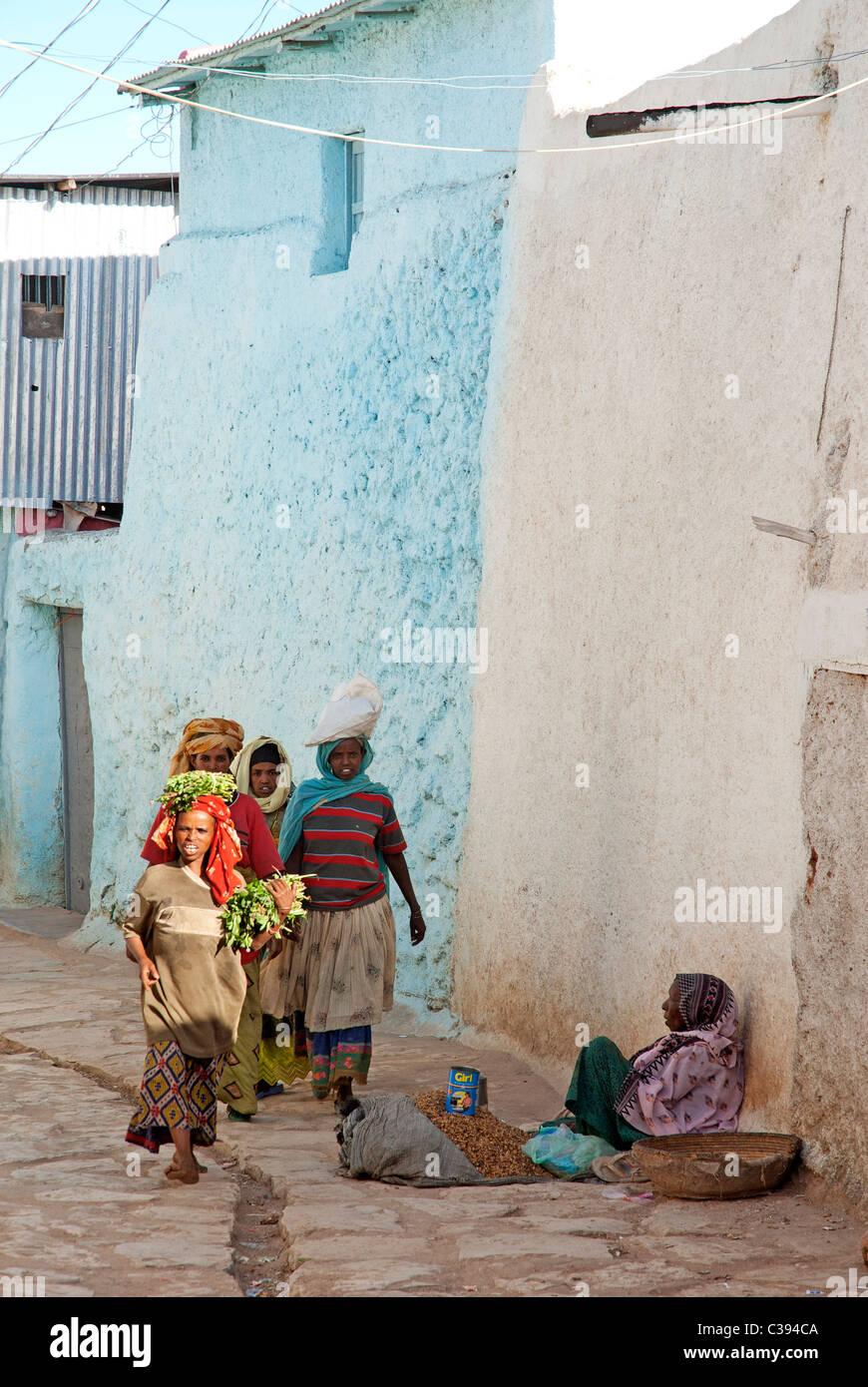 Scena di strada di Harar Etiopia Immagini Stock