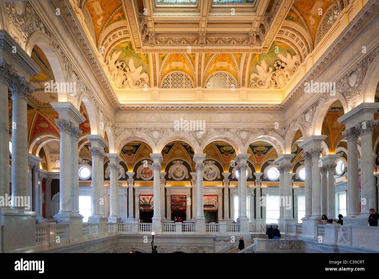 Il Grand Hall della biblioteca del palazzo del congresso di Washington, DC Immagini Stock