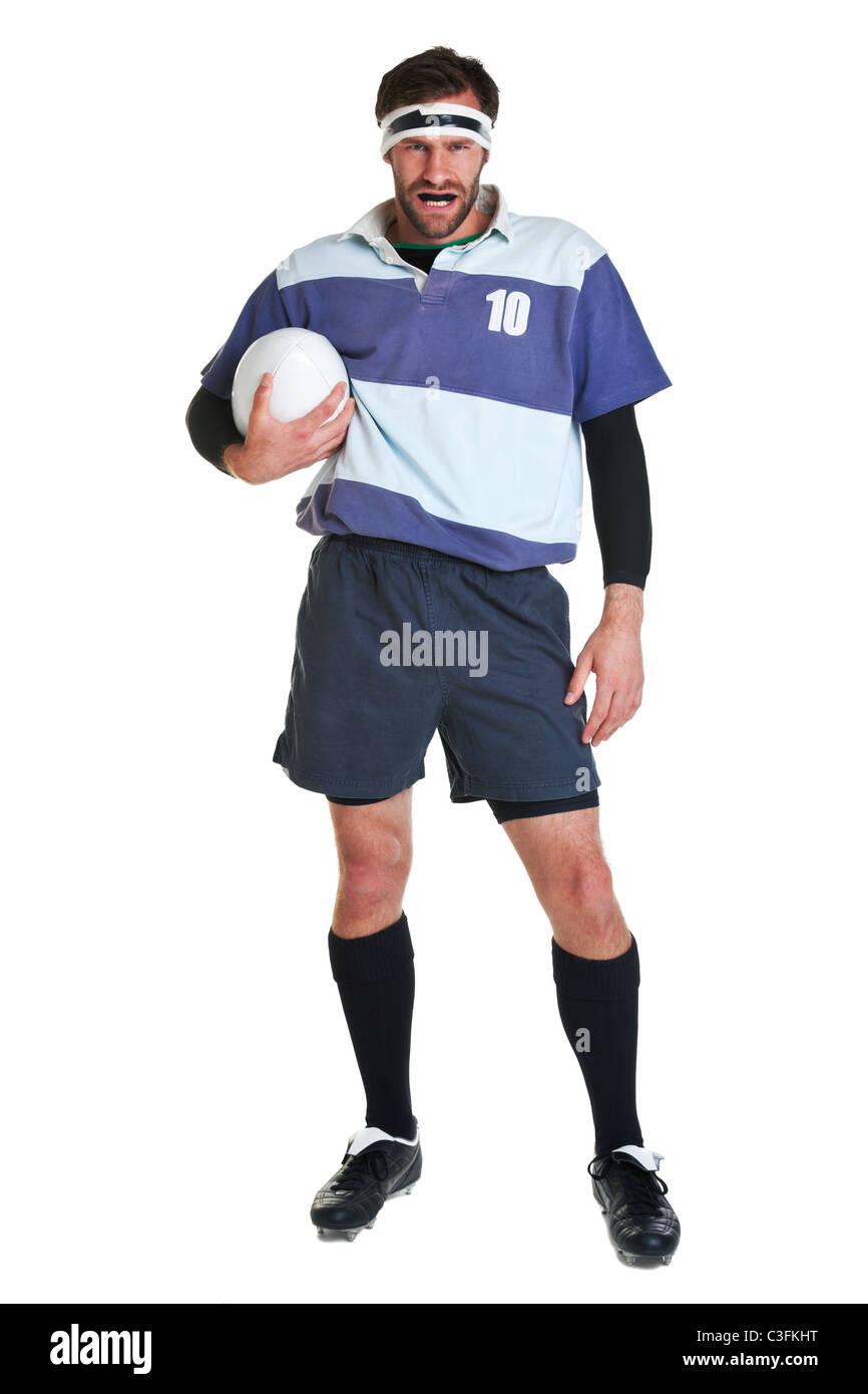 Foto di un giocatore di rugby ritagliata su uno sfondo bianco. Immagini Stock