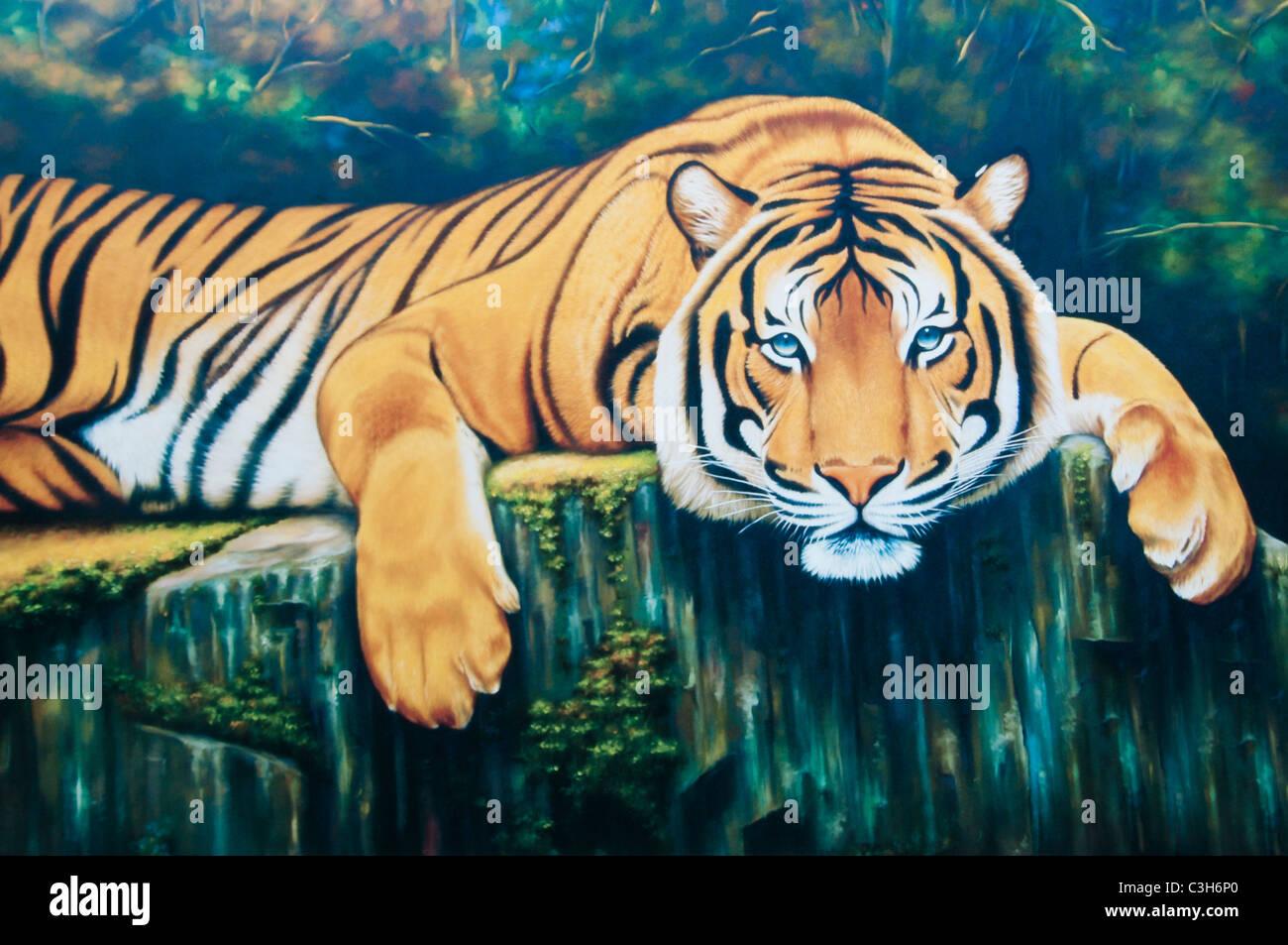 Tigre maschio in appoggio - Olio su tela Immagini Stock