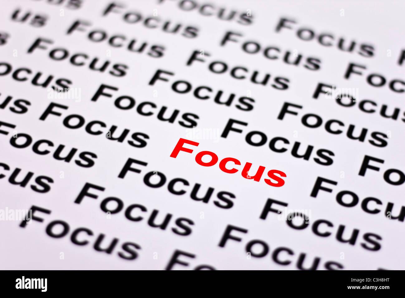 Incentrato su focus evidenziata in rosso Immagini Stock