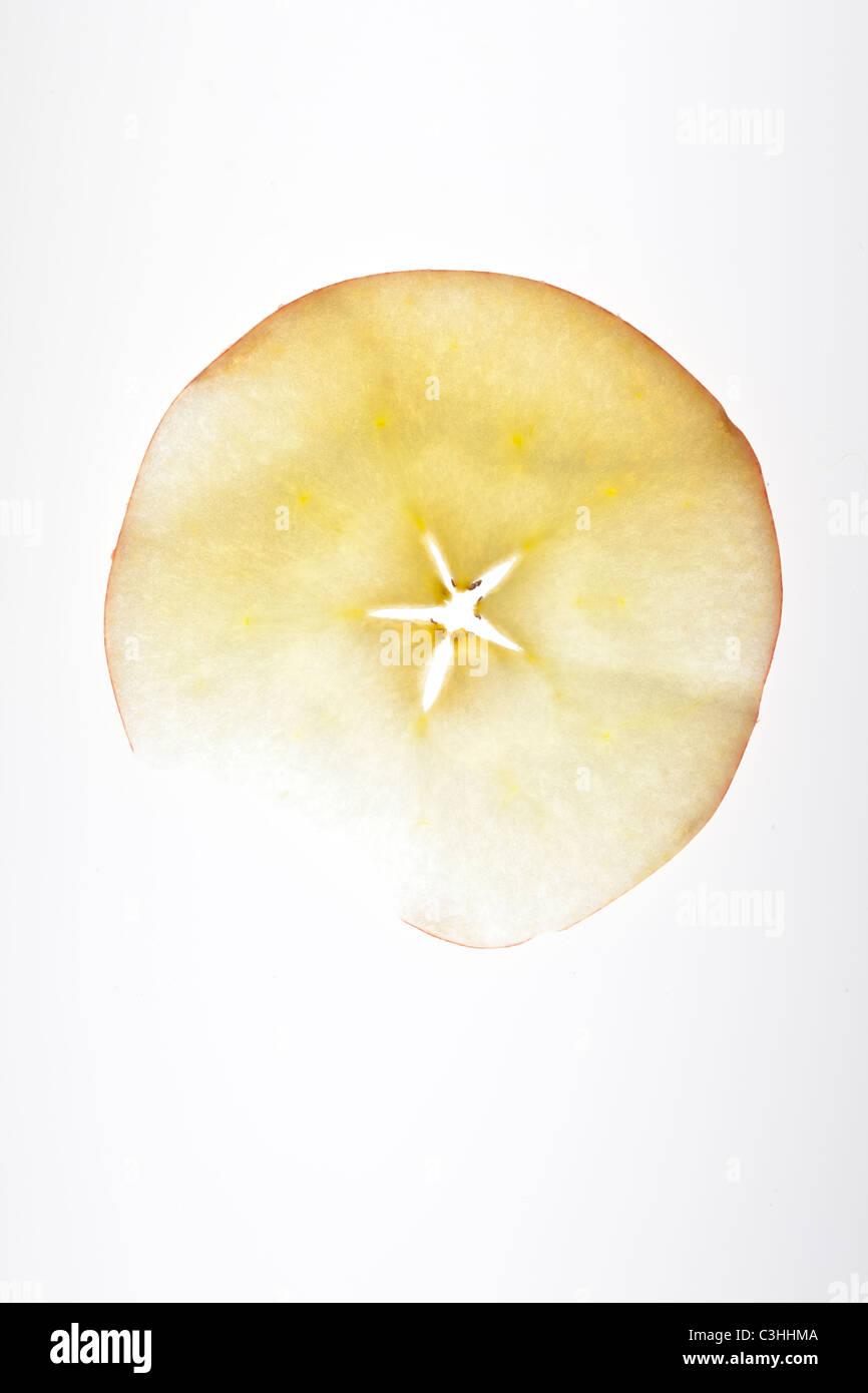 Rotonda sottile fetta di Apple Immagini Stock
